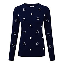 Buy Pure Collection Heart Jumper, Navy/Soft White Online at johnlewis.com