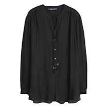 Buy Violeta by Mango Buttoned Flowy Blouse, Black Online at johnlewis.com