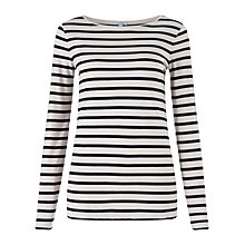 Buy Jigsaw Retro Jersey Stripe Amelie Top, Clay Online at johnlewis.com