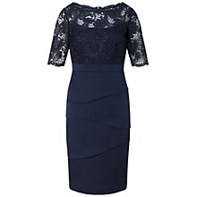 Buy Adrianna Papell Corded Lace Bodice Crepe Dress, Ink Online at johnlewis.com