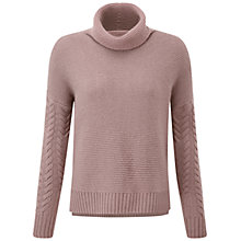 Buy Pure Collection Cashmere Cable Cowl Neck Jumper, Tawny Rose Online at johnlewis.com