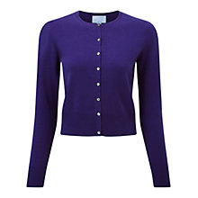 Buy Pure Collection Onslow Cashmere Cropped Cardigan, Rich Purple Online at johnlewis.com