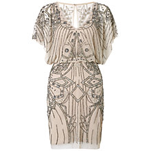 Buy Aidan Mattox Beaded V-Neck Cocktail Dress, Nude Online at johnlewis.com