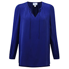 Buy Pure Collection Hampstead Silk Blouse, Sapphire Online at johnlewis.com