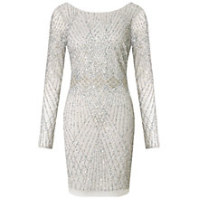 Buy Aidan Mattox Long Sleeve Beaded Cocktail Dress, Silver Online at johnlewis.com