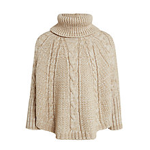 Buy John Lewis Girls' Roll Neck Poncho Jumper, Beige Online at johnlewis.com