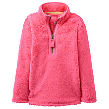 Buy Little Joule Girls' Fluffy Zip Neck Fleece, Pink Online at johnlewis.com