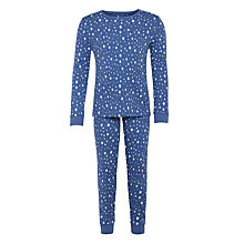 Buy John Lewis Man on the Moon Glow in the Dark Star Print Pyjamas, Blue Online at johnlewis.com