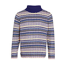 Buy John Lewis Girls' Stripe Rollneck Jumper, Blue Multi Online at johnlewis.com