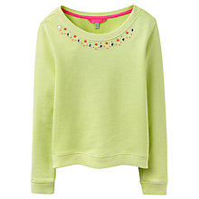 Buy Little Joule Girls' Embellished Crew Neck Jumper, Lime Online at johnlewis.com