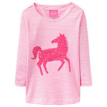 Buy Little Joule Girls' Stripe Horse Sequin T-Shirt, Pink Online at johnlewis.com