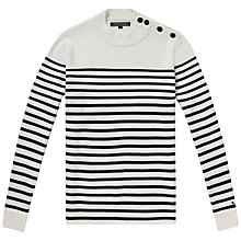 Buy Tommy Hilfiger Norman Mock Neck Sweater, Classic White/Navy Blazer Online at johnlewis.com