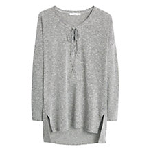 Buy Mango Linen Cord Tee, Light Pastel Grey Online at johnlewis.com