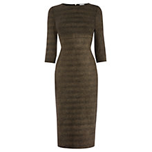 Buy Warehouse Metallic Ribbed Bodycon Dress, Gold Online at johnlewis.com