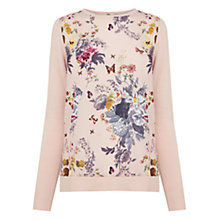 Buy Oasis Savage Beauty Wovenfront Jumper, Mid Pink Online at johnlewis.com