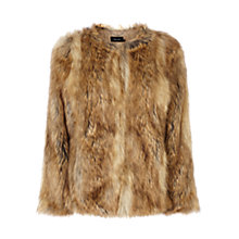 Buy Karen Millen Statement Faux Fur Jacket, Camel Online at johnlewis.com