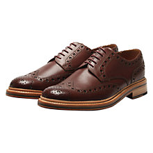 Buy Grenson Archie Leather Gibson Brogues, Burgundy Online at johnlewis.com
