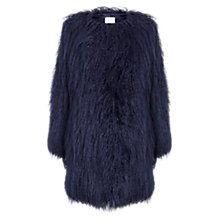 Buy East Faux Fur Coat, Blue Online at johnlewis.com