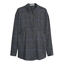 Buy Mango Chest Pocket Checked Shirt, Black Online at johnlewis.com