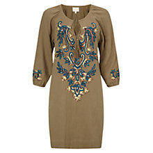 Buy East Lamisa Embroidered Tunic Dress, Khaki Online at johnlewis.com
