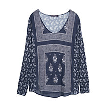 Buy Violeta by Mango Paisley Print Blouse, Navy Online at johnlewis.com