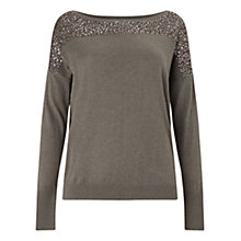 Buy East Sequin Jumper, Pebble Online at johnlewis.com