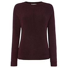 Buy Whistles Front Seam Boxy Knit Jumper, Burgundy Online at johnlewis.com