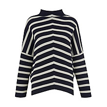 Buy Whistles Chevron Stripe Funnel Neck Top, Blue/Multi Online at johnlewis.com