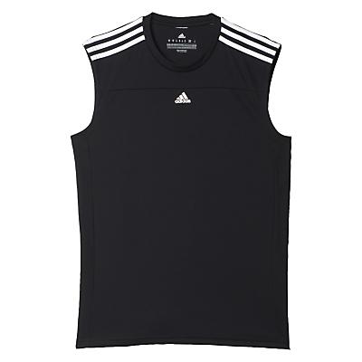 Image of Adidas Base 3 Stripe Sleeveless Training Vest, Black