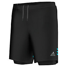 Buy Adidas Response Dual Running Shorts, Black/Shock Green Online at johnlewis.com
