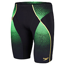 Buy Speedo Fit Pinnacle Jammers Swimming Shorts, Black/Green Online at johnlewis.com