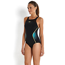 Buy Speedo Fit Pinnacle Xback Swimsuit, Black/Blue Online at johnlewis.com