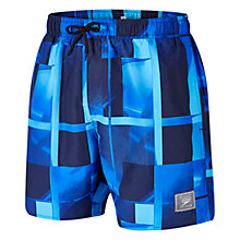 "Buy Speedo Men's Printed Check Leisure 16"" Watershorts, Navy/Blue Online at johnlewis.com"
