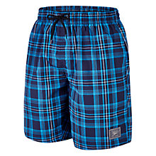 "Buy Speedo Check Leisure 18"" Watershorts, Navy/Blue Online at johnlewis.com"
