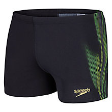 Buy Speedo Men's LZR Placement Aquashorts, Black/Green/Yellow Online at johnlewis.com