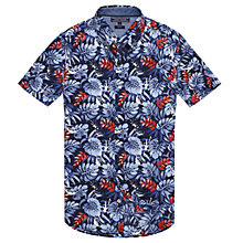 Buy Tommy Hilfiger Leaf Pineapple Print Shirt, Navy/Cranberry Online at johnlewis.com