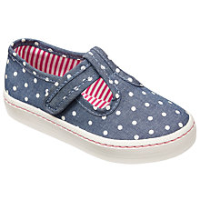 Buy John Lewis Children's Tilly T-Bar Polka Dot Shoes, Navy/White Online at johnlewis.com