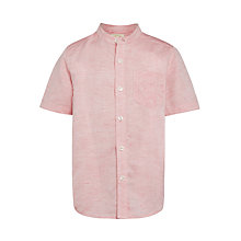 Buy John Lewis Heirloom Collection Boys' Short Sleeve Stripe Nehru Shirt, Coral Online at johnlewis.com