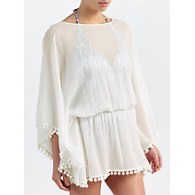 Buy John Lewis Pom Pom Trim Kaftan, White Online at johnlewis.com