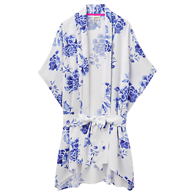 Joules Clara Floral Robe, White/Blue