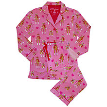 Buy Pj Salvage Monkey Pyjama Set, Pink Multi Online at johnlewis.com