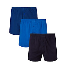 Buy John Lewis Organic Jersey Cotton Double Button Boxers, Pack of 3, Navy Online at johnlewis.com