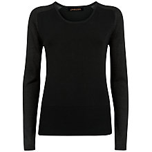 Buy Jaeger Metallic Sleeve Sweater, Black Online at johnlewis.com