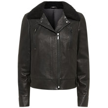 Buy Jaeger Leather Sheepskin Collar Biker Jacket, Black Online at johnlewis.com
