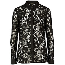 Buy Ted Baker Dominia Lace Shirt, Black Online at johnlewis.com