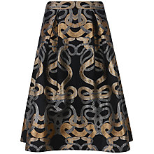 Buy Ted Baker Primmy Snake Jacquard Full Skirt, Black Online at johnlewis.com