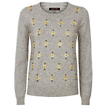 Buy Jaeger Wool Blend Embellished Jumper, Light Grey Melange Online at johnlewis.com