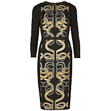 Buy Ted Baker Malicia Snake Jacquard Panel Dress, Black Online at johnlewis.com