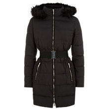 Buy Jaeger Belted Long Quilted Jacket, Black Online at johnlewis.com