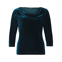 Buy Precis Petite Cowl Neck Velvet Top, Teal Online at johnlewis.com